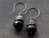 Tribal Graphic Earrings - Black Line Jasper and Garnet Gemstone Oxidized Sterling Silver Handmade Jewelry