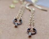 Rough Gray Diamond Black Steel Earrings Industrial Chic Raw Diamond Gold Chandelier Handmade Jewelry