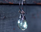 Dark Forest Earrings Lush Green Mystic Quartz Oxidized Sterling Silver Drop Handmade Jewelry