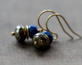 Giza Earrings, Lapis Lazuli Earrings, Pyrite Earrings, Fool's Gold Earrings, Ancient Egypt, Deep Blue Gemstone, 14k Gold Filled