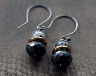 Gemstone Stack Earrings, Black + White Earrings, Oxidized Black Sterling Silver, Unique Stones, Brass Accent, Graphic Pattern, Unusual Gem