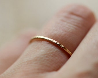 Yellow Gold Stacking Ring, Thin Hammered Band, 14k Yellow Gold Ring, Skinny Stackable Ring, Delicate Hammered Band, Recycled Gold