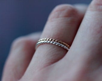 Twist Ring Stacking Set, Mixed Metal Rings, Sterling Silver and 14k Gold Filled, Pair of Rings, Nautical Style, Simple Everyday Jewelry