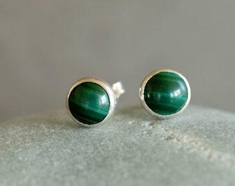 Malachite Studs, Deep Green Gemstone Earrings, Sterling Silver Posts, 6mm Size Dots, Gemstone Pattern, Silver Studs, Handmade Jewelry