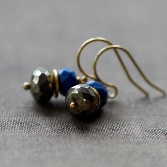 Giza Earrings, Lapis Lazuli Earrings, Pyrite Earrings, Fool's Gold Earrings, Ancient Egypt, Deep Blue Gemstone, 14k Gold Filled