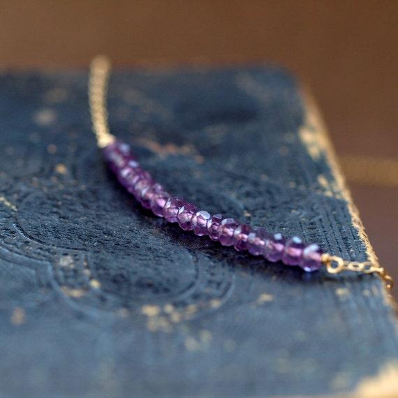 Amethyst Row Necklace, Purple Gemstone Necklace, Gem Row Necklace, 14k Gold Filled Layering Piece, Everyday Elegance Handmade Jewelry