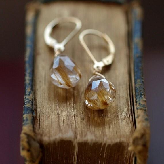 Golden Rutilated Quartz Earrings Gold Filled Leverback Faceted Gemstone Handmade Jewelry