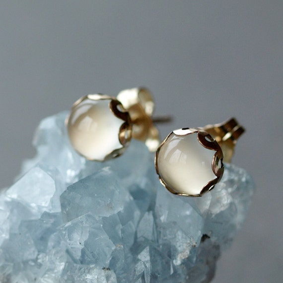 White Moonstone Stud Earrings, Elegant Gemstone Jewelry, 14k Gold Filled Post, Wedding Jewelry, Bridal Earrings, 6mm Size Scalloped Setting