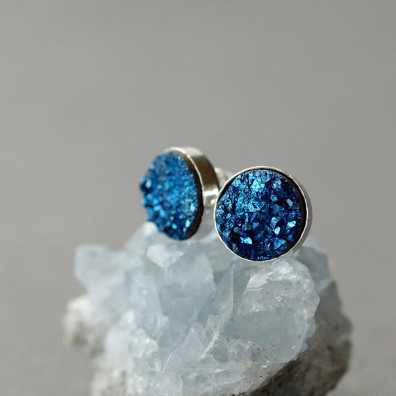 Electric Blue Bold Druzy Stud Earrings Posts Handmade Jewelry