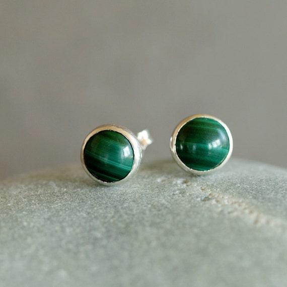 Malachite Studs, Deep Green Gemstone Earrings, Sterling Silver Post, 6mm Size Dots, Classic Preppy Look, Handmade Jewelry