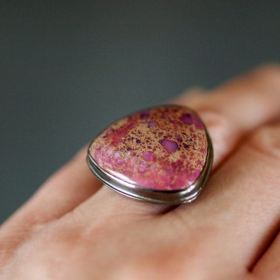 Orchid Kiss Ring, Gemstone Triangle Ring, Magenta Gem, Oxidized Black Sterling Silver, Hot Pink Gemstone, Cocktail Ring, Statement Jewelry