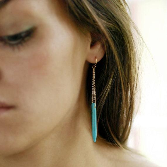 Turquoise Howlite Spear Earrings, Long Dangle Earrings, 14k Gold Filled Chain, Boho Style Earrings, Turquoise Earrings, Southwestern Jewelry