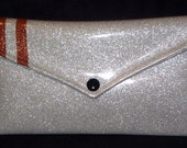 CLEARANCE Metal Flake Vinyl Glitter Clutch Purse Silver with Copper Stripes