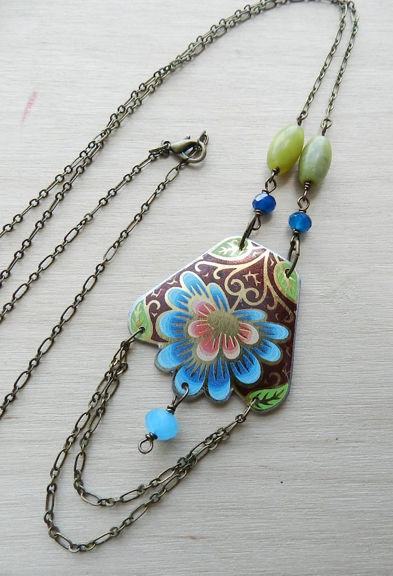 Peacock vintage tin long necklace