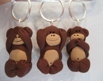See hear speak no evil monkey stitch marker set knit or crochet style knitting gift pin crafter charms set of 3 primate animal