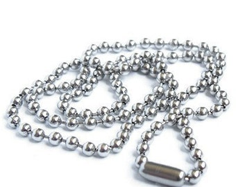 24 inch silver pelline ball chain necklace for my pendants or can be cut to any length you wish lightweight shiny 2mm