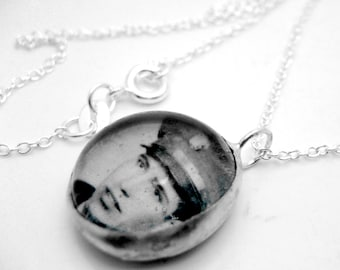 Custom photo glass bubble charm on 18 inch sterling silver link chain personalized customized with your emailed pic simple pendant