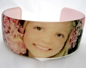 Custom Resin cuff bangle bracelet with your photo lightweight personalized with any photo or photos you email me great gift for mom grandma