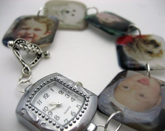 Custom resin keepsake memory lightweight square charm watch bracelet 7.5 inch personalized with your photos or images