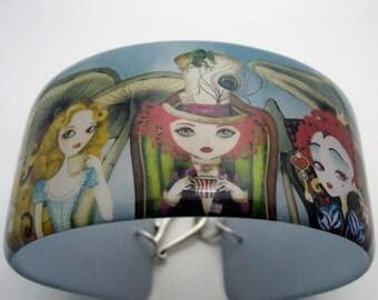 Alice's Mad Tea Party Resin art cuff bangle bracelet - featuring original wonderland artwork by Sandragrafik