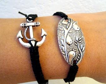 3 Little Birds oval square knot charm bracelet adjustable black surfer style friendship arm candy