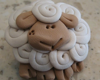 Designer art pin White or black Sheep Pin Badge Brooch great knitting gift sculpture wearable lamb crafter present wool