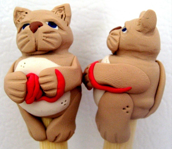 Cat with yarn ball bamboo designer knitting needles FR3E US SHIPPING single point bamboo long or short you pick the size sculpture