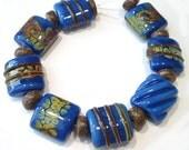 Handmade Lampwork Beads - Raku Blues Nuggets