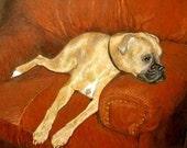 Custom Pet Portrait, Boxer Dog art 16 x 20, Custom Dog Portrait Artist, Custom Cat Portrait, Wedding gift, unique gift, boxer drawing, art