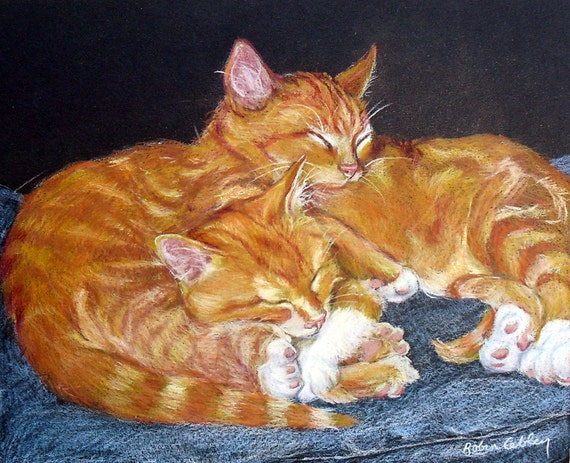 Custom Pet Portrait, Cats Sleeping Drawing