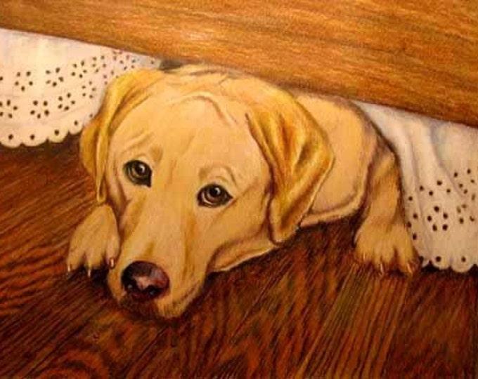 Yellow Labrador Retriever Art, Portrait Drawing Custom from photos