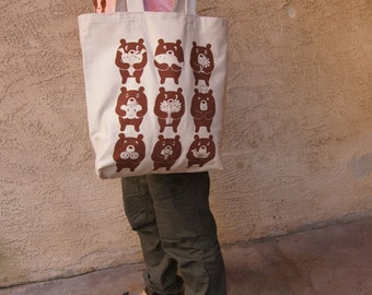 Bear Republic Network Veggie Bears silkscreened grocery shopping bag.