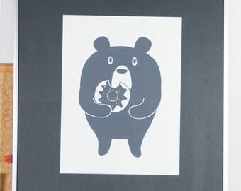 Duddly the Donut Bear Silk screen print GRAY 9 x 12 in