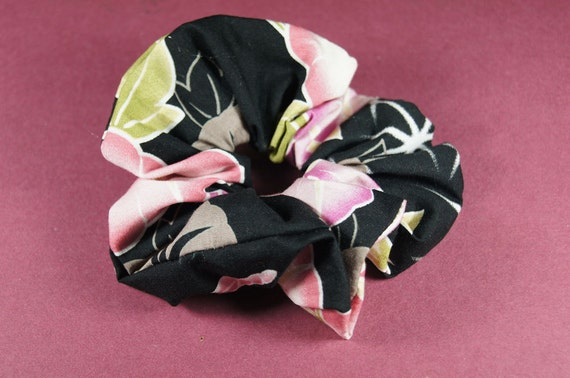Japanese Kimono fabric Scrunchie - Morning glory on Black