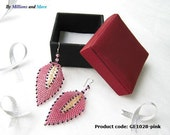 Handmade Beaded Leave-shape Earrings