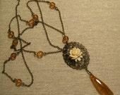 MODERN ROMANCE Vintage Brass and Rose Necklace