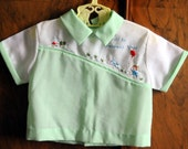 Spring SALE - Mint Green Vintage Boys Play Shirt - Toddler Baby 9-12 Months - Easter