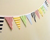 Bright Circus Bunting - Vintage Fabric - Nautical Banner