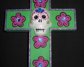 Day of the Dead Cross - Skuls and Flowers