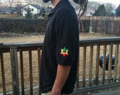 Upcycled Black Polo Rasta patch Shirt Everyday wear Size M