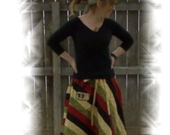 Custom Patchwork Skirt Rasta colors or colors of your choice hippie