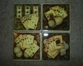 poker & gambling & cards ceramic tile coasters