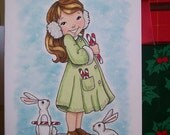Original Drawing, Christmas Card, Girl, Bunny, Holiday Illustration, Cute, Small Format Art, Blank Note Card, Red and Green