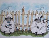 Sheep, Paper Cup Phone, ORIGINAL drawing, animal illustration, hand drawn, small format art, blank note card, humor