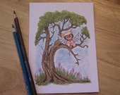 Pig, Fly, Tree, ORIGINAL drawing, children's illustration, Hand Drawn art, 5x7, Ready To Frame, Small Format Art