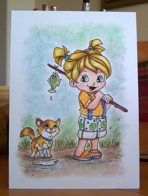 Girl, Child, Fishing, Cat, ORIGINAL Drawing,  5x7, Childrens illustration, Small Format Art, Cute