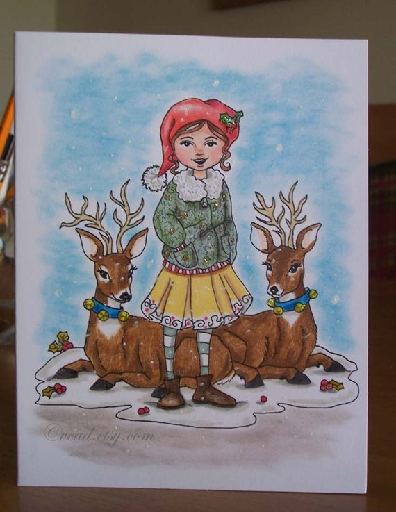 ORIGINAL Drawing, Deer, Holiday Drawing, Hand Drawn Note Card, Christmas, Girl, Friendship Card, Small Format Art