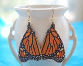 Monarch butterfly wing earrings - Original design on lutradur