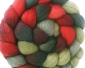 Handpainted BFL Wool Roving - 4 oz. HOLLY BERRY - Spinning Fiber