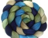Handpainted Polwarth Wool Roving - 4 oz. BLUE EYES - Spinning Fiber